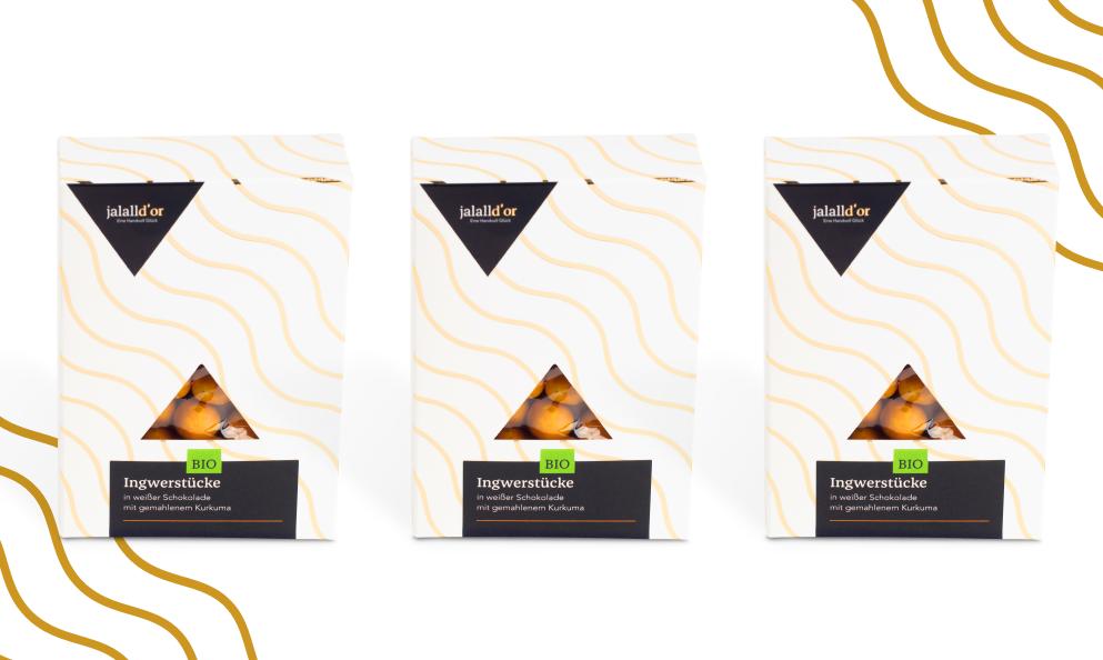 3er Set - Ingwer in weißer Kurkuma Schokolade in Bio-Qualität