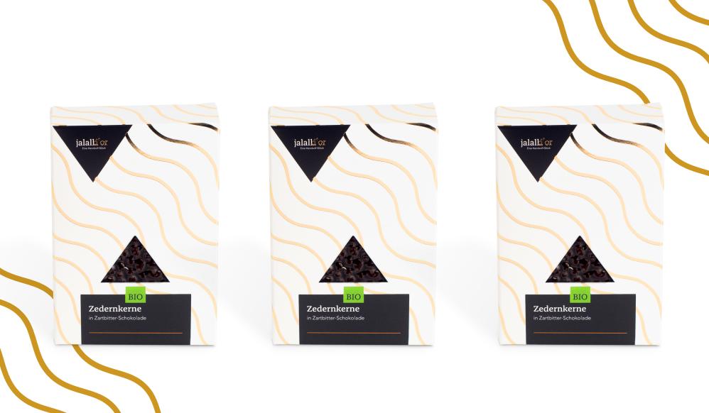 3er Set - Zedernkerne in Zartbitter-Schokolade bio